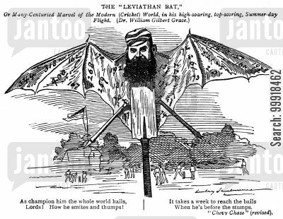cricketers cartoon humor: 'The 'Leviathan Bat,' or many centuried marvel of the modern (cricket) world. (Dr. William Gilbert Grace.)'
