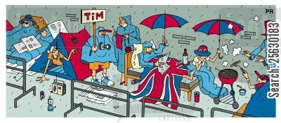 tim henman cartoon humor: Tennis fans queuing at Wimbledon.