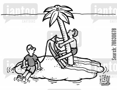 palm trees cartoon humor: Water skier hits palm tree on deserted island.