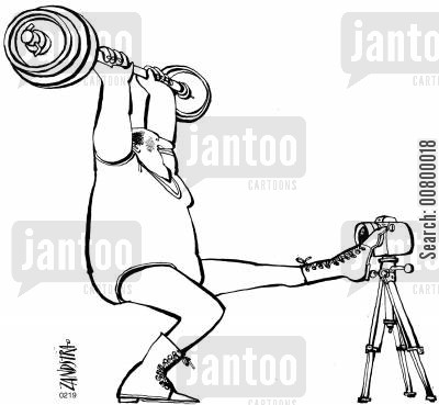 mementos cartoon humor: Weight lifter using his foot to take a photograph.