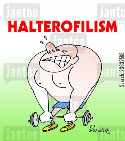 lifting weights cartoon humor: Halterofilism.
