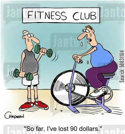 gym equipment cartoon humor: 'So far, I've lost 90 dollars.'