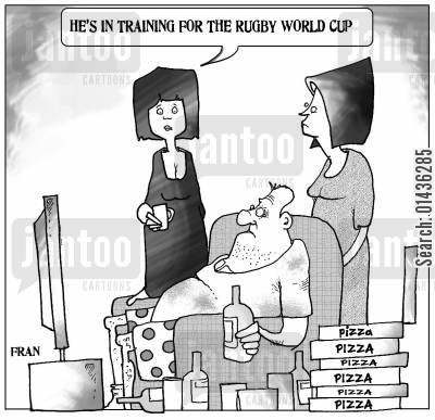 rugby training cartoon humor: 'He's preparing for the Rugby World Cup.'