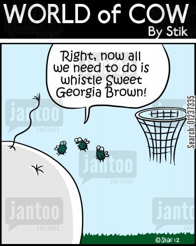 cow pat cartoon humor: 'Right, now all we need to do is whistle Sweet Georgia Brown!'