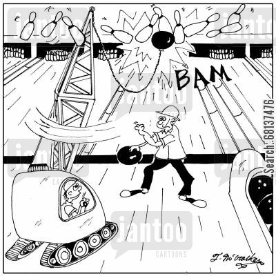 bowling alley cartoon humor: A wrecking ball gets a strike in a bowling alley.