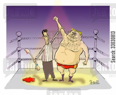 loser cartoon humor: Wrestling Champion.