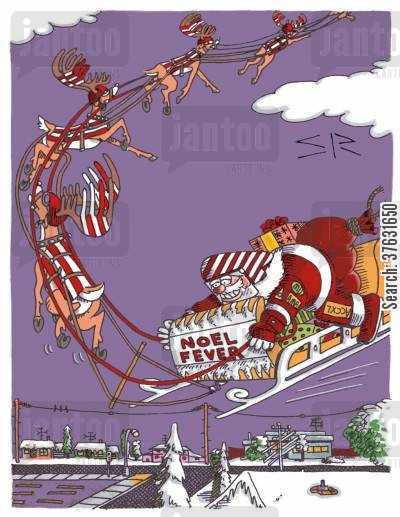 car racing cartoon humor: Santa Racing Sled,