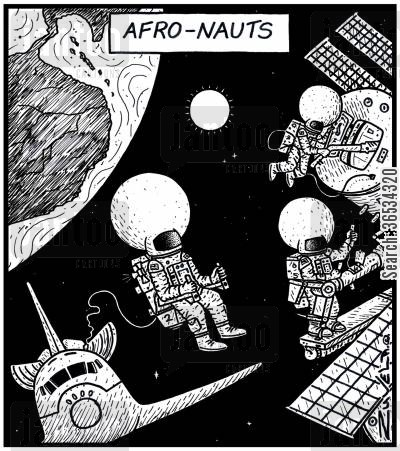 shuttle cartoon humor: Astronauts wearing large helmets catering for Afro hair styles