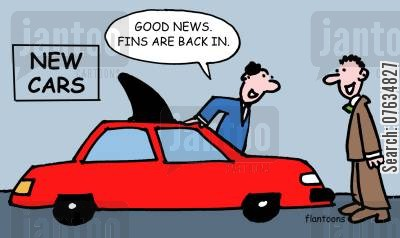 cars salesman cartoon humor: Good news. Fins are back in.