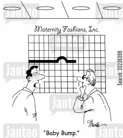 sales chart cartoon humor: 'Baby Bump.'