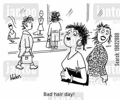 stylists cartoon humor: Bad hair day!