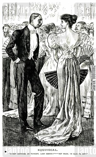 equivocal cartoon humor: Man talking to lady with a low backed dress