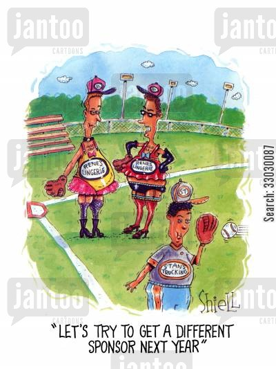 major league cartoon humor: Let's try to get a different sponsor next year.