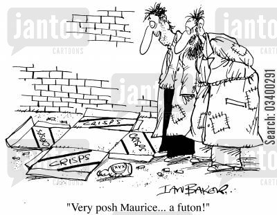 futons cartoon humor: Very posh Maurice....a futon.