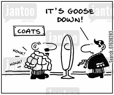 animal furs cartoon humor: 'It's goose down.'