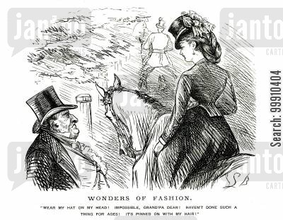 women's fashion cartoon humor: Lady on a horse with her hat pinned to her hair