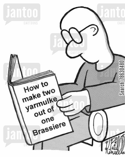 recycles cartoon humor: How to make two yarmulke out of one Brassiere