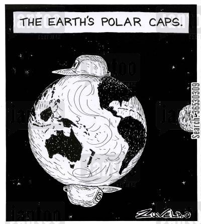 baseball cap cartoon humor: The Earth's Polar Caps.