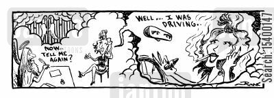 cosmetics cartoon humor: Woman putting on makeup while driving.