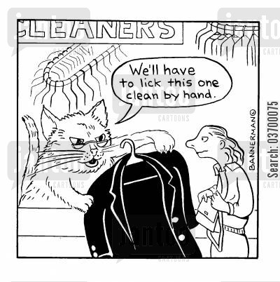 dry cleaners cartoon humor: We'll have to lick this one clean by hand