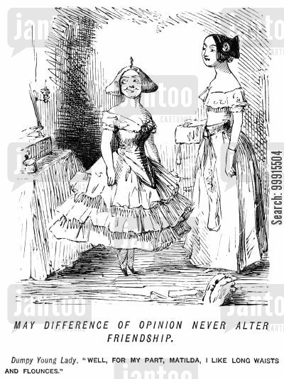 women's fashion cartoon humor: A difference of opinion over fashion