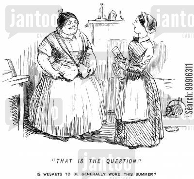 women's fashion cartoon humor: Maid asking whether waistcoats are to be the fashion for the summer
