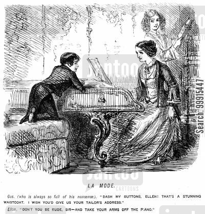 tailoring cartoon humor: Boy commenting on a lady's clothes