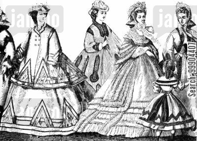 american fashion cartoon humor: Paris Fashions, Winter 1863-64