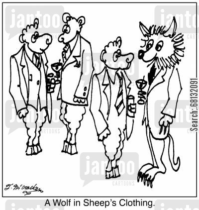 business executives cartoon humor: A Wolf in Sheep's Clothing.