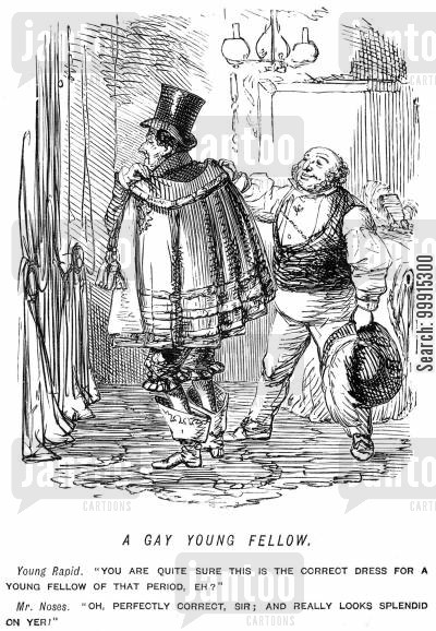 historic cartoon humor: Man dressing up