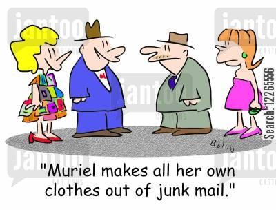 seamstress cartoon humor: 'Muriel makes all her own clothes out of junk mail.'