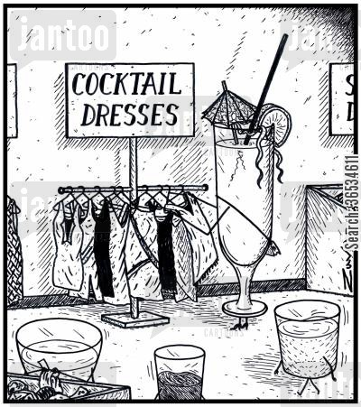 cocktail bar cartoon humor: Cocktail Dresses