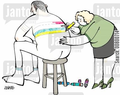 coloring cartoon humor: Woman colouring man's clothes with crayon.