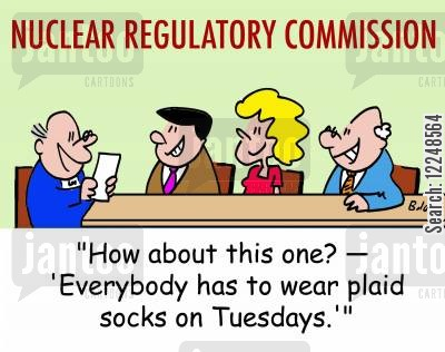 regulatory cartoon humor: 'How about this one? †'Everybody has to wear plaid socks on Tuesdays.''