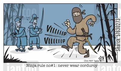 sneaking cartoon humor: Ninja Rule no#1: never wear corduroy.