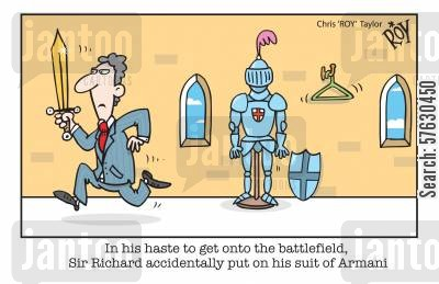 designer fashion cartoon humor: In his haste to get onto the battlefield, Sir Richard accidentally put on his suit of Armani