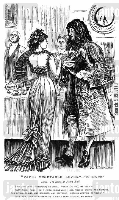 dinner party cartoon humor: A chaperone unhappy with the dress of the young lady he is looking after