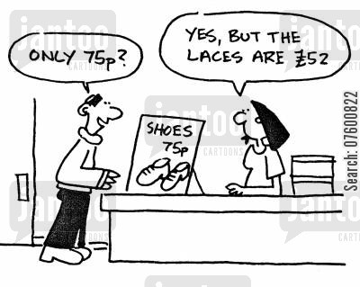 hidden price cartoon humor: Shoe shop