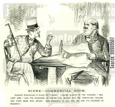 discussion cartoon humor: Two Men Smoking and Discussing Fashion.
