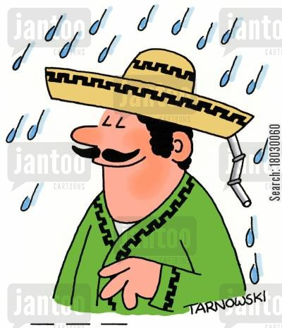 rainy weather cartoon humor: Drainpipe in a sombrero.