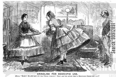women's fashion cartoon humor: Crinoline for Domestic Use