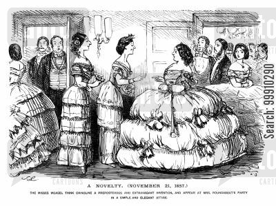 attire cartoon humor: Ladies not wearing crinolines at a party