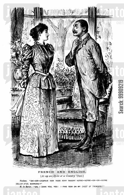country manors cartoon humor: A French Lady Conversing With An English Gentleman.