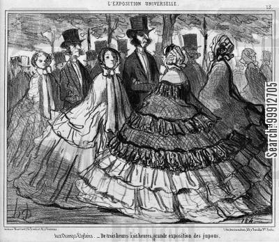 display cartoon humor: World Exhibition - At the Champs-Élysées - from 3 to 6 o'clock, great exhibition of petticoats