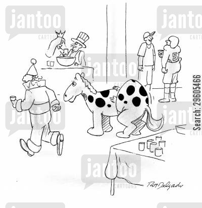 disguise cartoon humor: Horse costume.