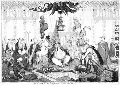 brighton pavilion cartoon humor: King George IV and his Entourage at Brighton Pavilion