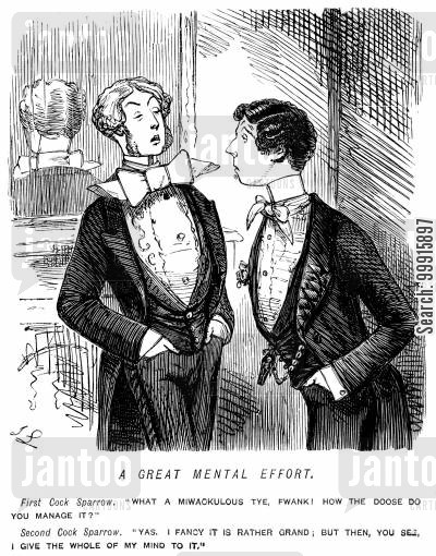 mentality cartoon humor: In reply to a compliment about his huge tie, a young man explains that he gives the whole of his mind to it