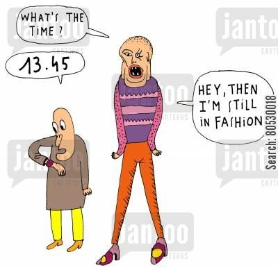 clothes shop cartoon humor: Still in fashion