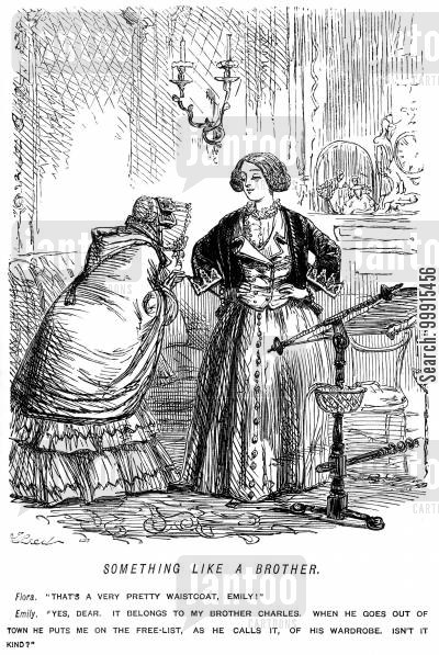garments cartoon humor: Lady wearing a waistcoat borrowed from her brother
