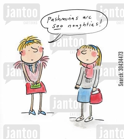 fads cartoon humor: Pashminas are sooo noughties!